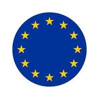 Icône arrondie du drapeau de l'europe vecteur de drapeau européen isolé avec préservation des couleurs standard et des proportions adaptées à l'impression des illustrations de bannières de sites Web