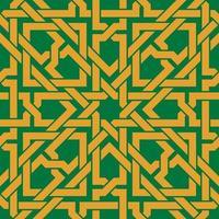 modèle sans couture avec ornement celtique doré sur fond vert vecteur