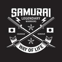 Emblème d'épées de samouraï katana croisé sur fond noir vecteur