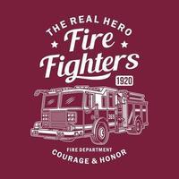 graphique vectoriel de camion de pompiers vintage