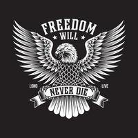 emblème de l'aigle américain sur fond noir vecteur