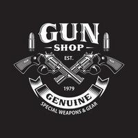 Emblème du magasin d'armes avec des armes croisées sur fond noir vecteur