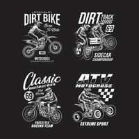 collection de t-shirts graphiques de motocross vecteur