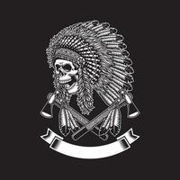Crâne de chef indien américain avec tomahawks sur fond noir vecteur