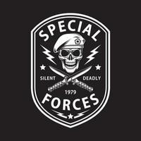 Emblème des forces spéciales de l'armée avec poignard croisé sur fond noir vecteur