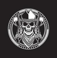 crâne de cowboy tenir illustration vectorielle de pistolets vecteur