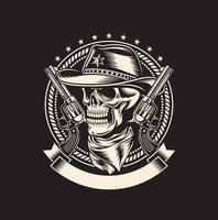 crâne de cow-boy avec des armes de poing sur fond noir vecteur