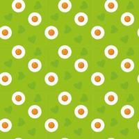 Dessin animé mignon sans soudure oeufs verts motif printemps Pâques imprimer oeufs au plat et coeurs vacances concept peut être utilisé comme illustration vectorielle stock de texture dans un style plat vecteur