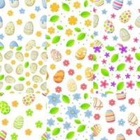 ensemble de modèles sans couture de printemps avec des fleurs et des feuilles d'oeuf de Pâques peut être utilisé comme élément de chasse de Pâques pour les bannières web affiches et textures illustration vectorielle stock dans un style réaliste de dessin animé vecteur