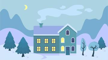 mignon, dessin animé, noël, maison, dans, les, neige, paysage, illustration, hiver, paysage, ville, extérieur, à, arbre noël, et, montagnes vecteur