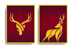 conception d'affiche de cerf abstrait design élégant et luxueux vector illustration set