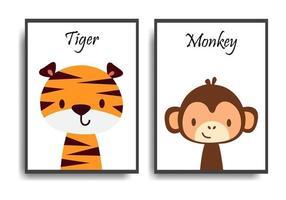 affiche avec ensemble de tigres et de singes animaux de dessin animé vecteur