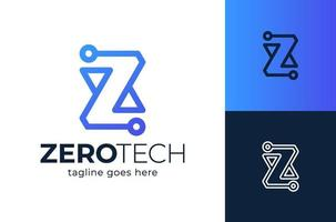 élément de conception de logo lettre z tech initiale vecteur