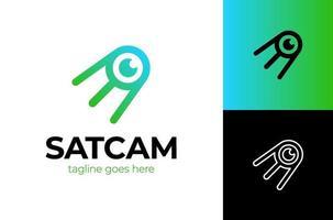 vecteur de logo de communication oeil satellite moderne