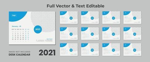 Calendrier de bureau 2022 avec disposition bleue Calendrier de bureau bleu 2022 Nouveau modèle de calendrier de bureau 2021 12 mois inclus vecteur