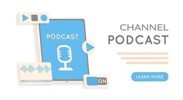 webinaire formation en ligne émission de radio ou blog audio concept de podcast interface pour contrôle audio illustration podcasting vecteur concept plat internet enregistrement numérique diffusion en ligne bannière illustrée