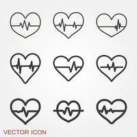 jeu d & # 39; icônes de battement de coeur vecteur