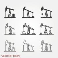 jeu d & # 39; icônes de pompe à huile vecteur
