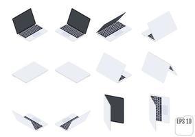 ordinateurs portables ou cahiers isométriques plats vecteur