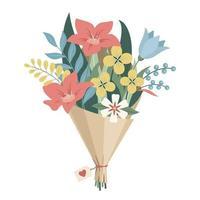 bouquet de fleurs enveloppé dans du papier kraft vecteur