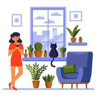 Bonjour fille à la fenêtre avec un café du matin de chat design de confort à la maison vecteur