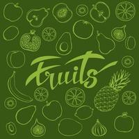 affiche ou bannière avec fruits dessinés à la main et fruits de lettrage vecteur