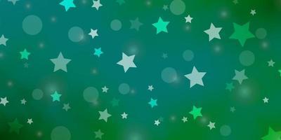 fond de vecteur vert clair avec des cercles, des étoiles.