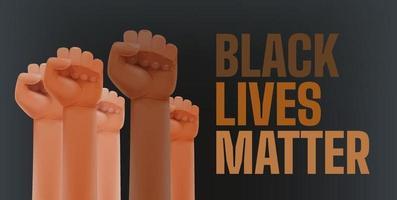 les vies des Noirs comptent. différentes couleurs de peau de poings en l'air en signe de protestation vecteur