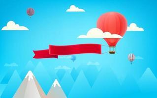 ballon à air rouge avec grande bannière publicitaire vecteur
