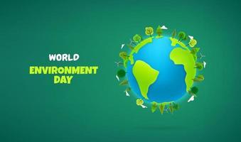 journée mondiale de l'environnement. la terre avec des arbres et des nuages. illustration 3d de style dessin animé. effet pâte à modeler vecteur