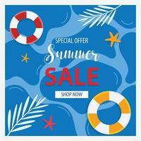 bannière de vente d'été et design plat de fond vecteur