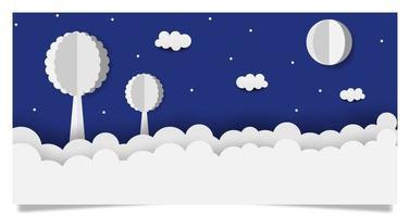 ciel nocturne en style papercut vecteur
