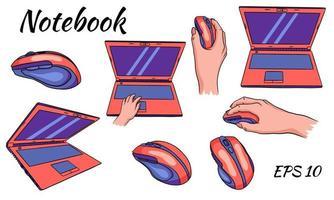 souris d'ordinateur portable pour l'ordinateur en main pour le style de dessin animé de travail à la maison et au bureau vecteur