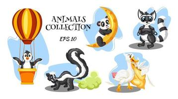 animaux personnages skunk raton laveur oie panda et pingouin en style cartoon vecteur