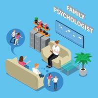 illustration vectorielle de famille psychologue composition isométrique vecteur
