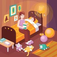 mère lisant des histoires au coucher illustration vectorielle vecteur