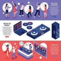 dj musique bannières isométriques vector illustration