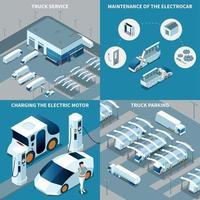illustration vectorielle de véhicules électriques design isométrique concept vecteur
