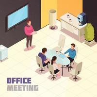 affiche isométrique de réunion de bureau vecteur