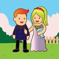 juste marié romantique vecteur