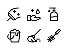ensemble simple d'icônes de ligne vectorielle liées au nettoyage vecteur