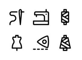 ensemble simple d'icônes de lignes vectorielles liées à la couture vecteur