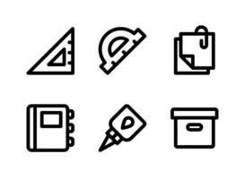 ensemble simple d'icônes de ligne vectorielle liées à la papeterie vecteur