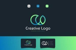 logo abstrait lettre initiale c et o avec concept lié en dégradé bleu et vert vecteur