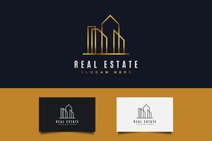 logo immobilier en dégradé d'or avec style de ligne vecteur