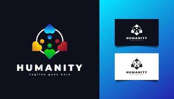 logo de l & # 39; humanité avec des illustrations de personnes de différentes couleurs vecteur
