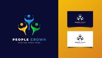 logo de personnes avec concept de couronne en dégradé coloré vecteur