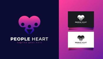 personnes et logo coeur en dégradé coloré vecteur