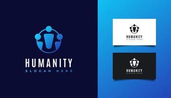 création de logo d'humanité ou de personnes en dégradé bleu vecteur
