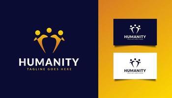 logo de l'humanité avec les gens s'embrassent vecteur